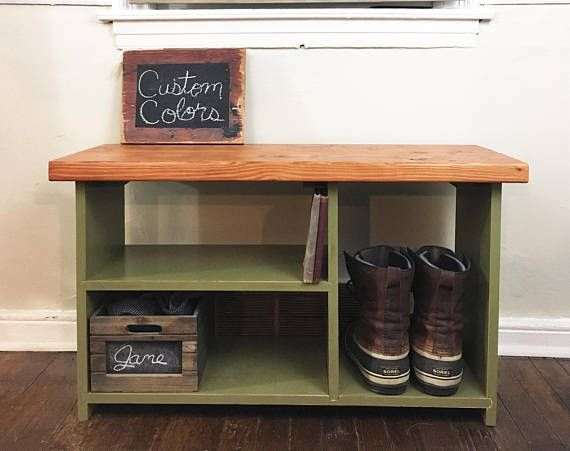 this entryway bench with shoe storage comes in several beautiful custom colors and can be to match your style and decor