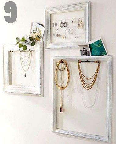 We all have old picture frames laying around, paint a few in coordinating colors, and add some hooks & wire for a chic jewelry storage solution