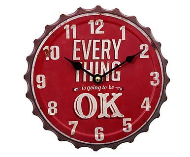 Часы - дерево - красный, Ø20 см