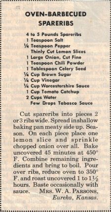 Oven BBQ Spareribs Recipe Clipping (possibly from 1960s)