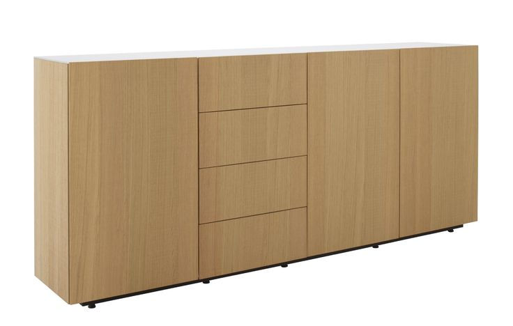 Et Cetera configured as a sideboard H 92 cm x D 39 x W 158 (3 bays) or 211 cm (4 bays). Available in natural, putty or anthracite 'sawn' oak with matching lacquered glass tops and choice of door or set of 4 drawers per 'niche'.