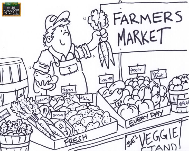Teach The Kiddos About The Farmers Market Free Farmtime Market Coloring Pages