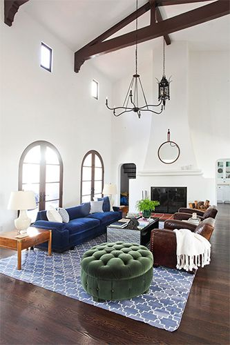 9 Smart Home Decor Tips To Revamp Your Space #refinery29  http://www.refinery29.com/spring-decor-ideas#slide10  In another room, a green ottoman, blue couch, and blue rug give the space an earthy feel. Think about the colors you love about spring and use them to emulate the season in your home! Shop Similar: West Elm Essex Upholstered Ottoman, available at West Elm.