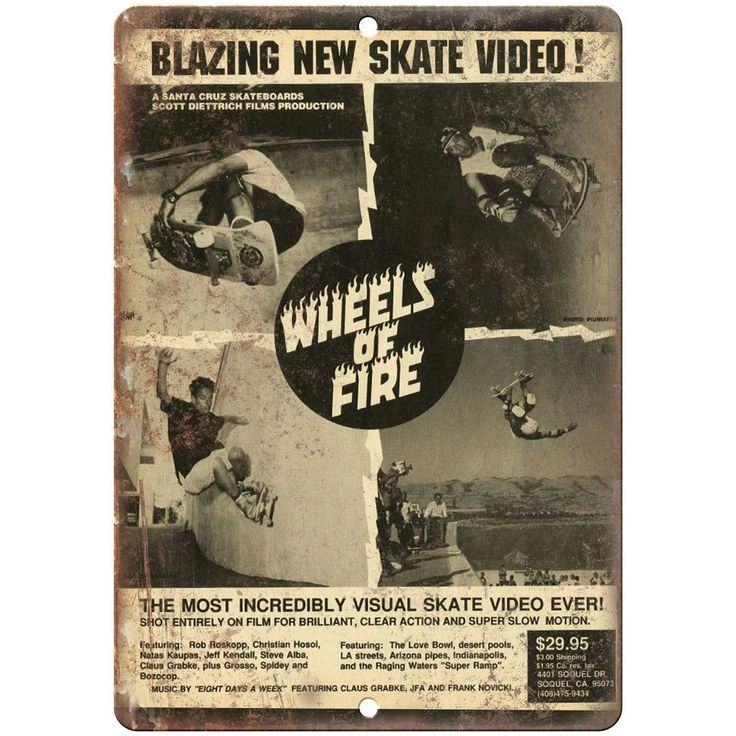 "Santa Cruz Skateboards Wheels Of Fire Skate Video 10"" x 7"" Retro Look Metal Sign"