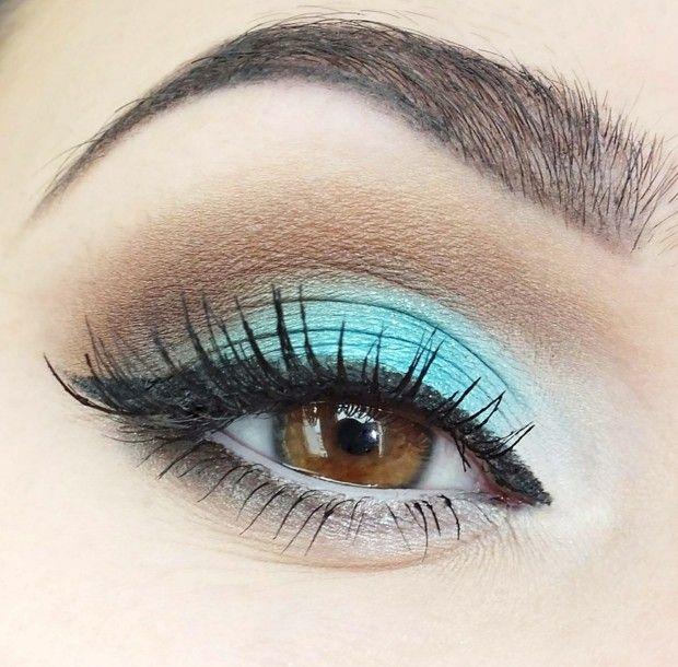 braune Augen marine Farbe beige Oberlid