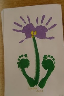 Did this for mothers day 2013, for the grandmothers. One side was Nyla's hand and foot print and then other side was Naomi's. Did different colors for their flowers. So sweet!