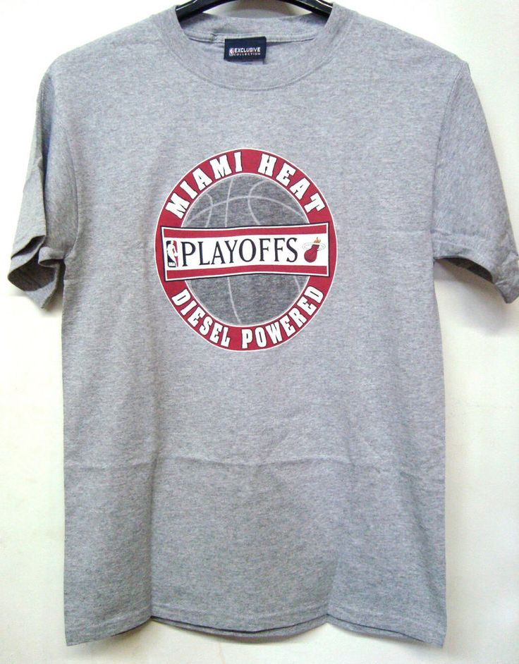 VINTAGE NBA MIAMI HEAT PLAYOFFS DIESEL POWERED GRAY T-SHIRT SZ MEDIUM #MiamiHeat