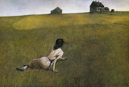 "Andrew Wyeth, 'Christina's World'. Wyeth's neighbour Christina suffered from polio, and crawls back to her house in this strange and lonely scene. The 2 were friends, and the artist described her as ""limited physically but by no means spiritually."" This is an example of Magical Realism: the scene is rendered meticulously down to the last blade of grass, and subtle nuances of light instil a sense of poetic mysticism."