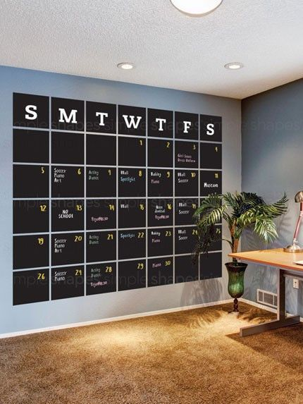 Stay organized with the help of our extra large chalkboard wall calendar. This calendar wall decal incorporates a black chalkboard vinyl that you can write on and erase. It is applied directly to the