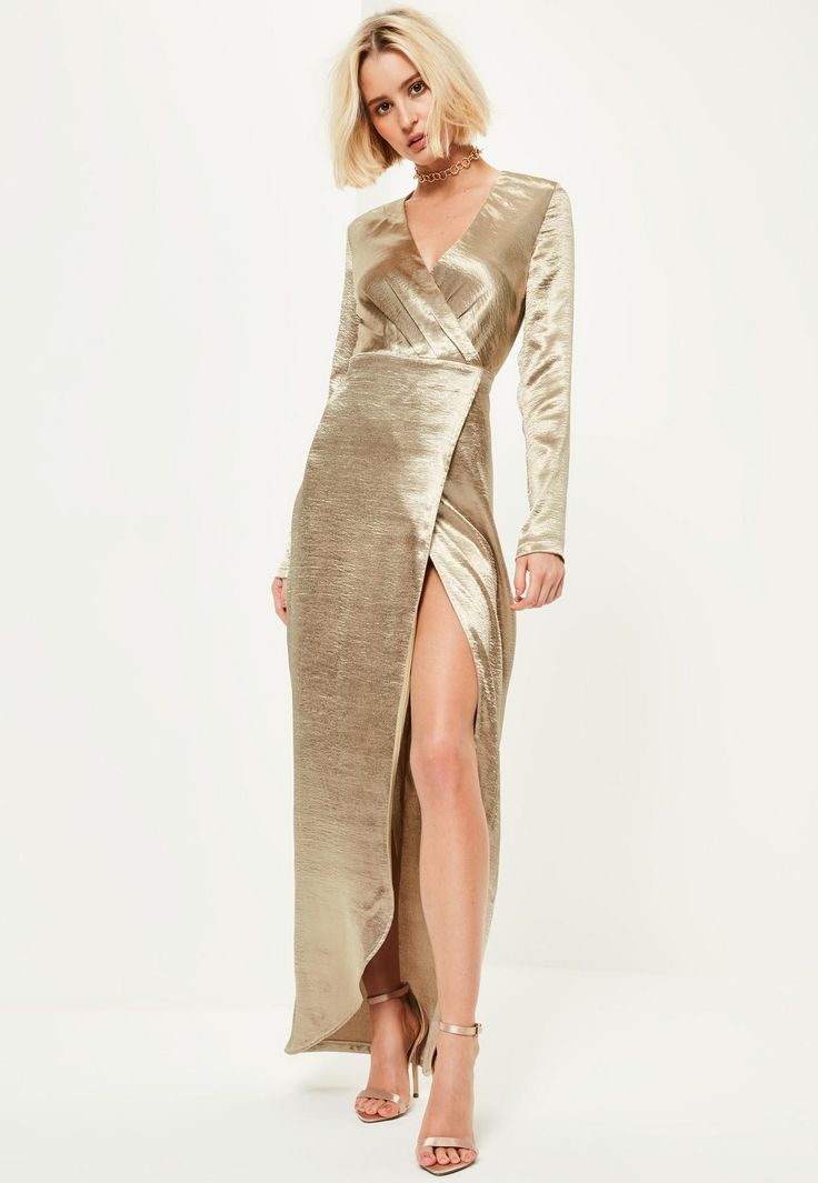 Gold Metallic Long Sleeve Plunge Wrap Maxi Dress - Missguided
