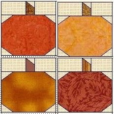 clipart picture of pumpkin quilt blocks