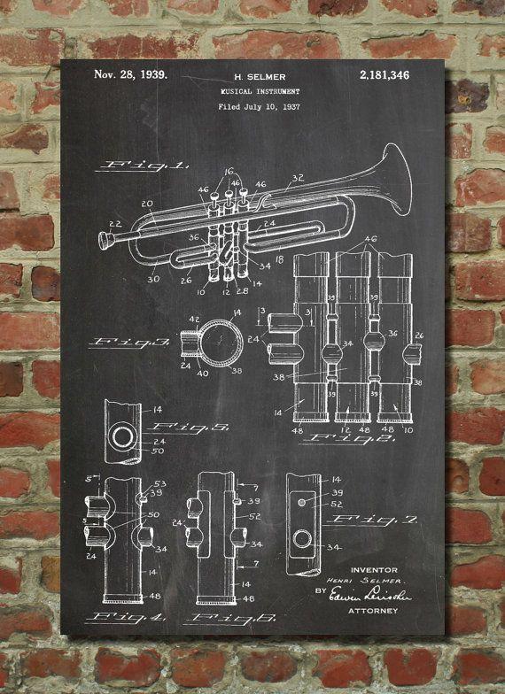 Trumpet Patent Poster Musician Art Trumpet Art by PatentPrints