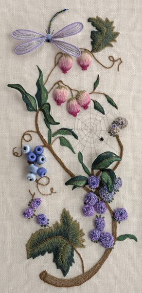 Fantasy Remembered by Dawn Pollard ~ design by Luan Callery using surface embroidery and stumpwork techniques. ~ 2014 Exemplary Ribbon Winner- First Place ~ National Academy of Needlearts