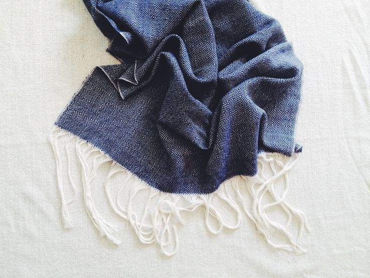 Beautiful!   Navy Throw   Navy Scarf   Weaving 003 - Midnight Blue and  White Wool Blanket Shawl Scarf Couch Throw by BlisscraftandBrazen on Etsy https://www.etsy.com/listing/259192135/weaving-003-midnight-blue-and-white-wool