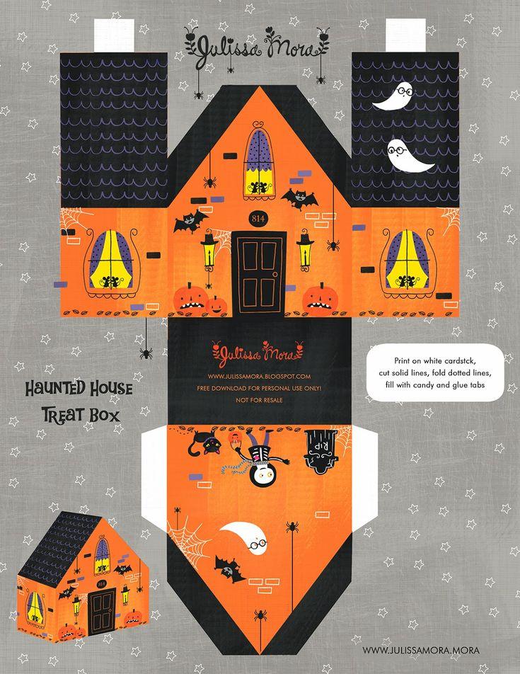 free printable haunted house treat box paperhouse - Pinterest Halloween Printables