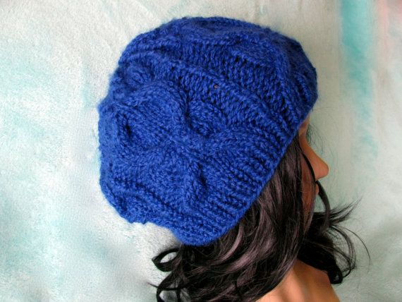 Blue Knit Cable Beanie, Slightly slouchy beanie, knit cable hat