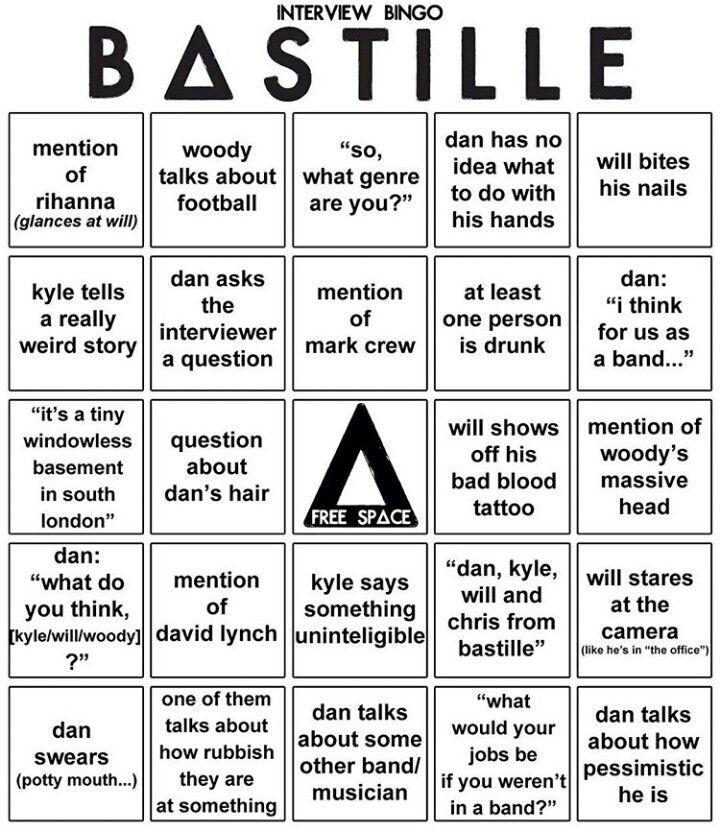 Bastille interview bingo
