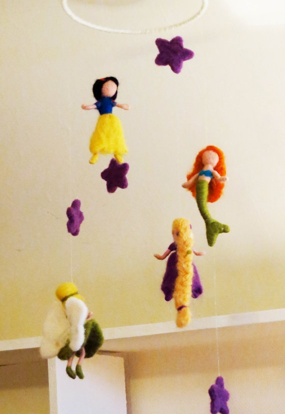 Disney princess mobile baby nursery waldorf style needle for Princess crib mobile