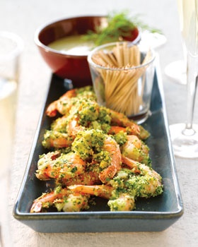 Scampi in kruidenkorst en currymayonaise