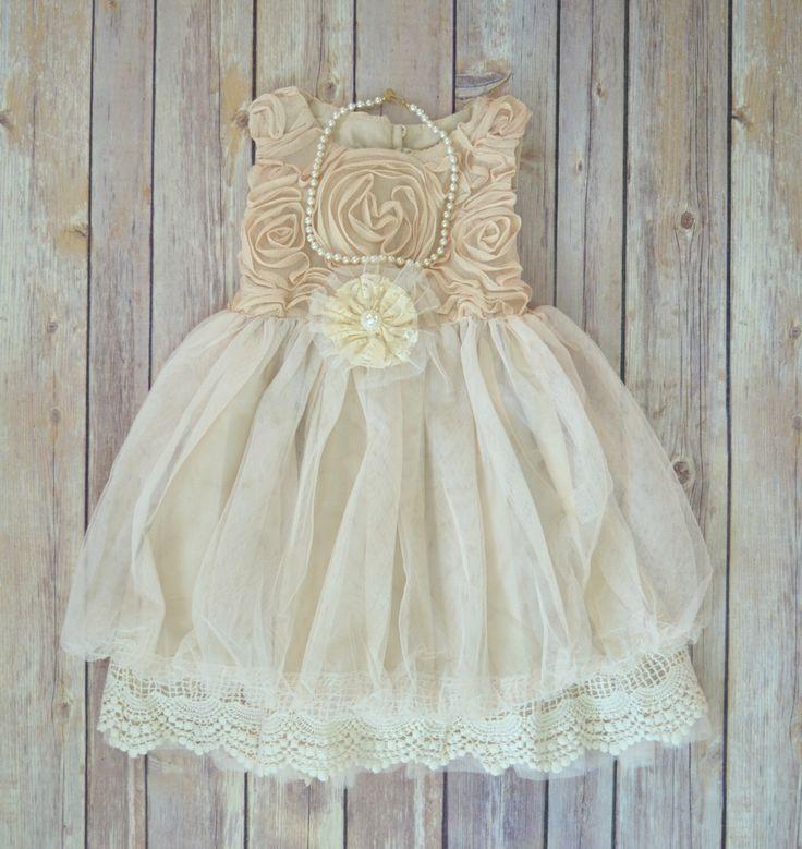 Beige Ivory Lace Flower Girl Dress, Boho Flower Girl dress,  Rustic Wedding dress, Easter dress,  Vintage Girls Dress, Birthday dress by MaidenLaneBoutique on Etsy https://www.etsy.com/listing/219716819/beige-ivory-lace-flower-girl-dress-boho