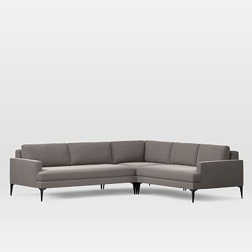 Andes Set 8 Left Arm 2.5 Seater Sofa, Right Arm 2 Seater Sofa, Corner, Worn Velvet, Metal