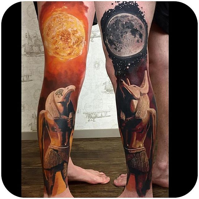 13. Egyptian Horus & Anubis leg sleeves made by @pepabohemiantattoo