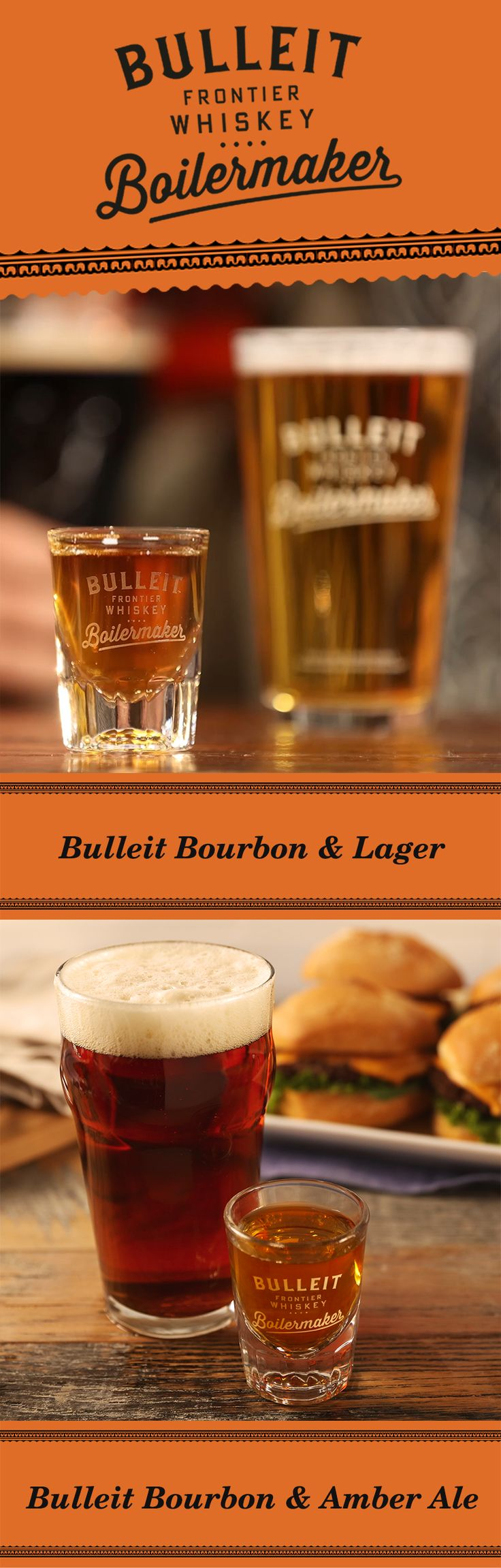 Whether on the football field, at a viewing party, or at the bar, it takes two teams to make a classic. So when it's time for a drink, go for the Bulleit Boilermaker by pairing a beer and a shot.  The recipe is easy. Simply pour 1.3 oz Bulleit Bourbon and pair it with your favorite 12 oz beer—including a lager or amber ale. To best experience this two-drink serve, alternate between sipping Bulleit and slowly drinking your beer to discover unique flavor profiles.