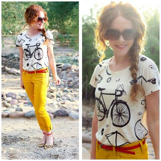 bike tee @amandaRed Belts, Unique Outfit, Colors Pants, Mustard Yellow Pants, Graphics Tees, Yellow Skirts, Prints Tees, T Shirts, Bicycles Shirts
