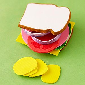 Awww! - Play-Food Craft       This yummy sandwich may look good enough to eat, but -- surprise! -- it's actually made entirely of colorful foam sheets.