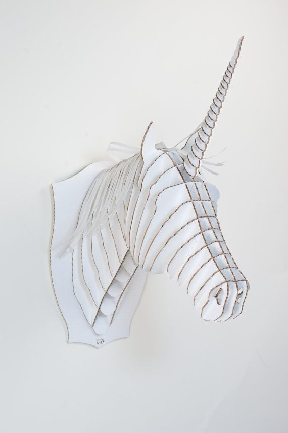 Never too old for a unicorn.... Merlin Jr. Medium Unicorn Trophy White or Brown by CardboardSafari, $30.00