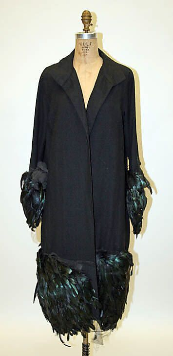 Coat, Edward Molyneux (French, born Britain, 1891–1974): 1928, French, wool, feathers.
