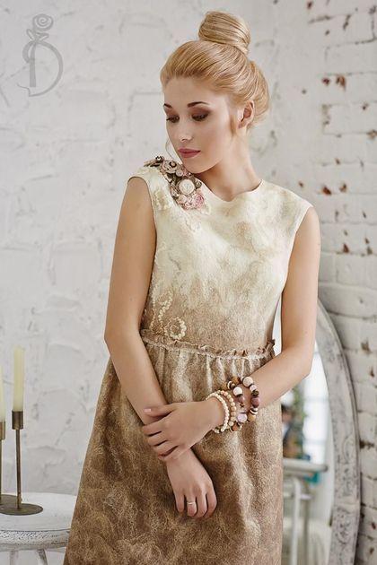 Валяное платье «Сливочное утро». Handmade.