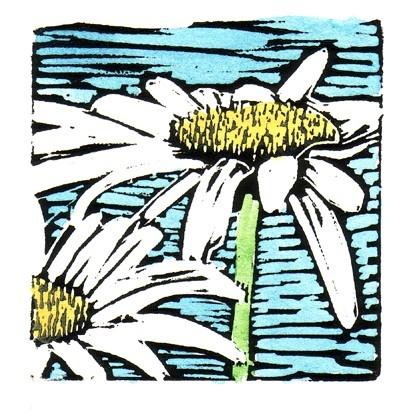 Double Daisy Linocut Block Print by backporchstudios on Etsy, $16.00