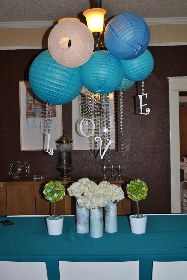 fun ideas for bridal shower themes%0A Shower of Love bridal shower theme  try with modge podge and doilies over a  balloon
