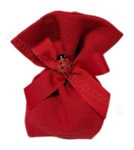 Sacchettino Confezionato in juta Rossa + Coccinella e confetti