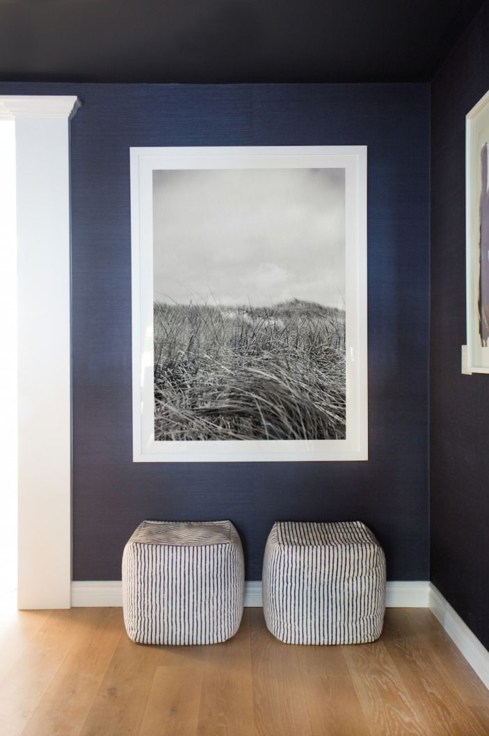 """The dining room also got wallpaper. Indigo grasscloth wallpaper. Which might be my favorite kind of wallpaper on earth. The <a href=""""http://www.minted.com/product/wall-art-prints/MIN-GYA-GNA/daydream?ccId=468846&org=title """" target=""""_blank"""">Minted art</a> adds some sophistication and functions as a window into a black-and-white coastal world. And it also alludes to Ryan's office... which you'll see later. HOLD YOUR HORSES!"""