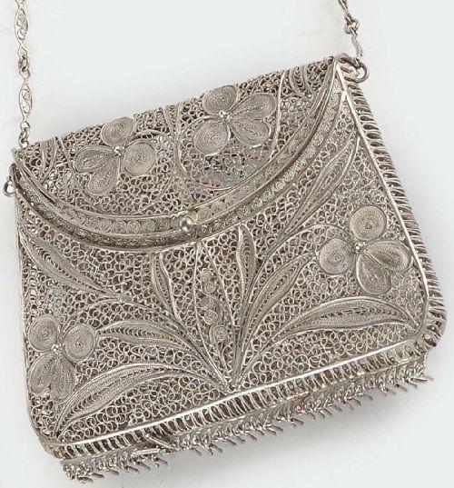 Silver filigree purse, Genoa 19th century