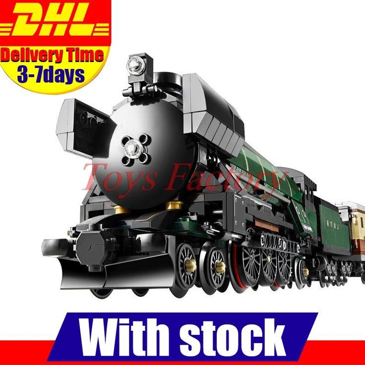 재고 LEPIN 21005 1085 개 테크닉 시리즈 에메랄드 밤 기차 모델 건물 키트 블록 벽돌 어린이 장난감 10194