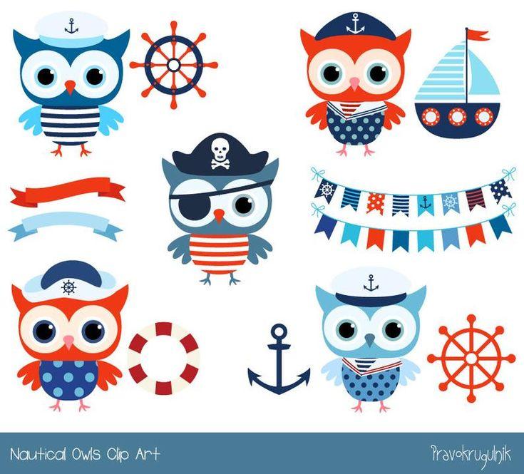 Cute nautical owl clipart Sailor owl clip art pirate Boy ...