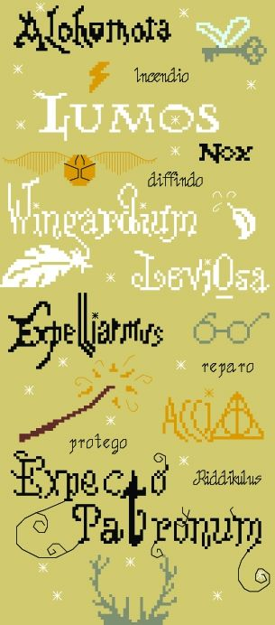 Free Harry Potter Spells cross stitch SAL point de croix broderienalex.canalblog.com