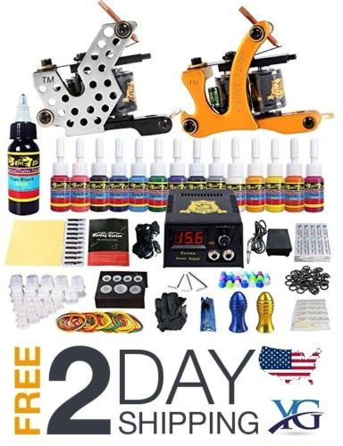 Tattoo-Kit-2-Complete-Starter-Beginner-2-Pro-Machine-Guns-14-Inks-Power-Supply