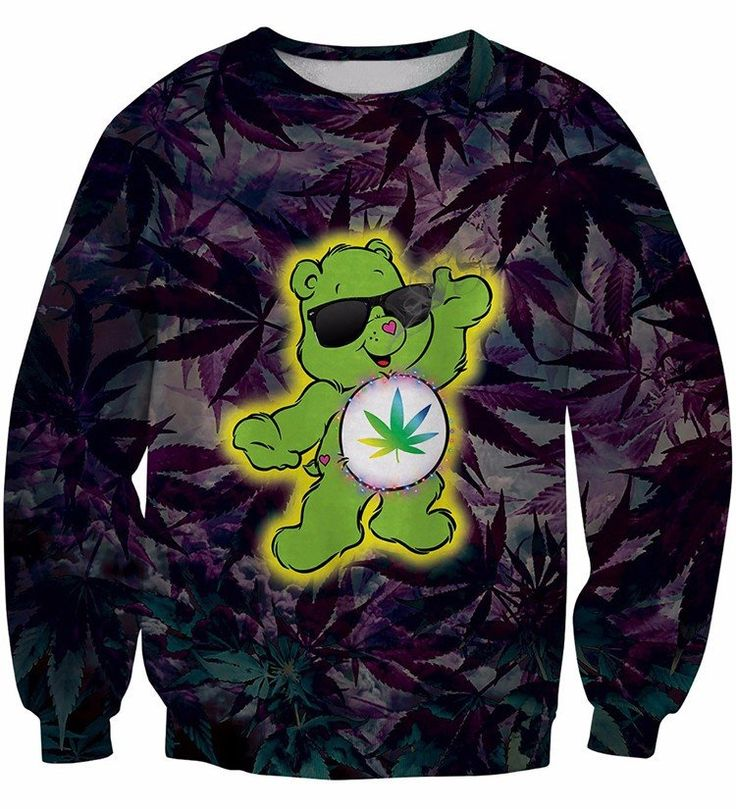 Cannabis Marijuana Leaves Green Funny Cute Bear 3D Sweatshirt #Cannabis #Marijuana #Leaves #Green #Funny #Cute #Bear #3D #Sweatshirt