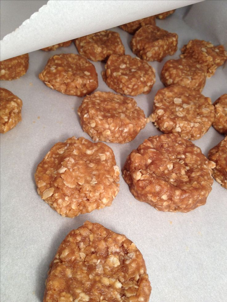 Home made dog treats( no bake) so easy - peanut butter, water, cinnamon, and oats