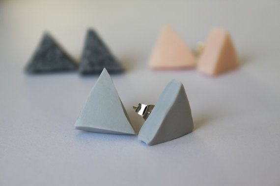 Grey polymer clay earrings