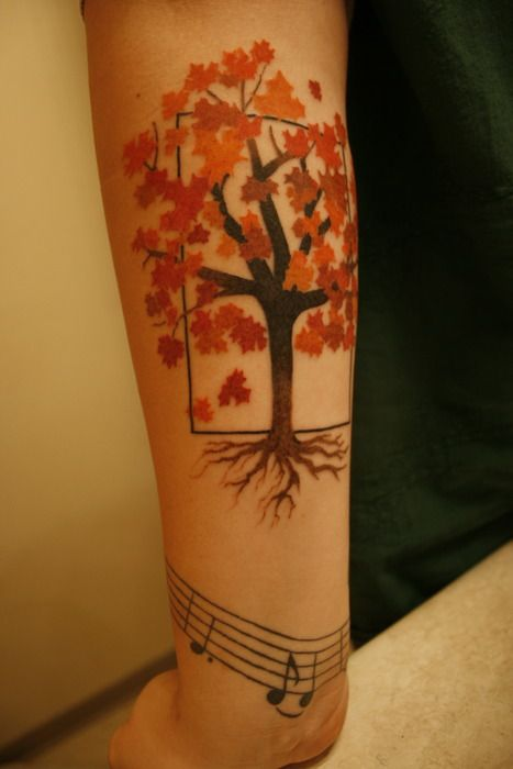 This maple tree represents my childhood. I grew up with maple trees surrounding my house and every fall my mom would ooh and ahh over the beautiful changing leaves, it's her favorite time of year. I got it branching out of a box, rather than being confined.   Done by Diego at Under The Needle Tattoo in Seattle, WA  Diego was a visiting tattoo artist from LA.