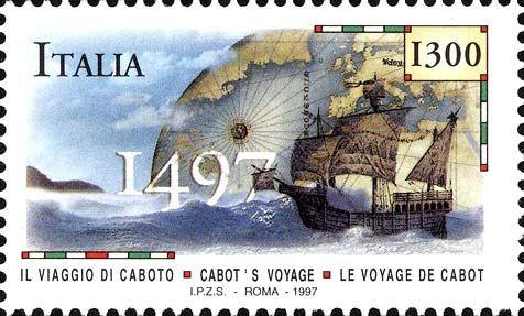 1997 - 5° centenario dello sbarco di Giovanni Caboto sulle coste canadesi - Emissione congiunta con l'Amministrazione Postale del Canada - un veliero che giunge sulle coste del Canada nel 1497 e, sullo sfondo, un'immagine del globo terrestre e una carta nautica del vecchio continente