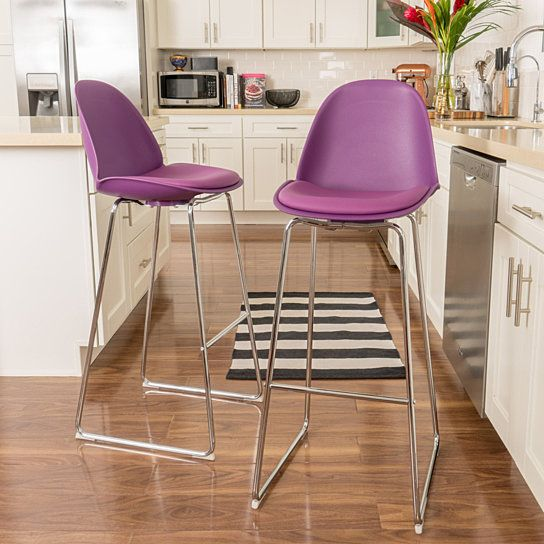 Buy Vorow Contemporary Purple Bar Stools (Set of 2) by GDFStudio on Dot & Bo