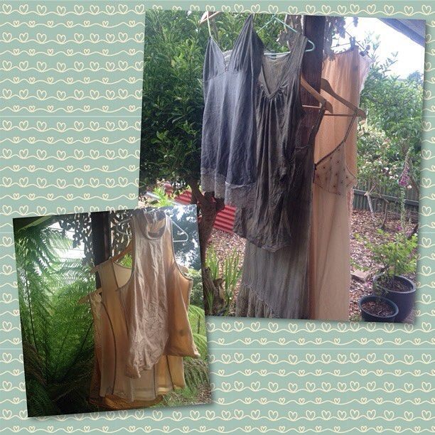 Solar dyed with used eco dyes. I strained the dye liquid into large jars, added some white vinegar and submerged the garments before allowing the sun to do its work for 1 - 2 weeks. Next: I will do some eco printing on them by steaming. #upcycledfashion #ecofriendly #tasmania #ecodye #natural #plants #tasmania