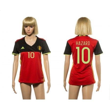 Belgien Trøje Dame 2016 #Hazard 10 Hjemmebanetrøje Kort ærmer,208,58KR,shirtshopservice@gmail.com