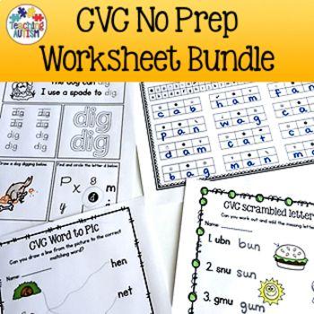 $12.75 - CVC Worksheet BUNDLE  consists of 88 no prep printable worksheets.